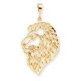 Solid Diamond-cut Lions Head Charm 10k Gold 10C579