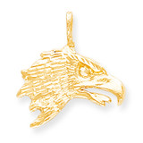 Solid Diamond-cut Eagle Head Charm 10k Gold 10C616