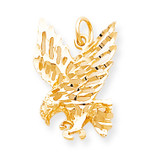 Solid Diamond-cut Eagle Charm 10k Gold 10C622