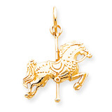 Solid Satin Carousel Horse Charm 10k Gold 10C669