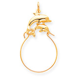 Double Dolphin Charm Holder 10k Gold 10C681