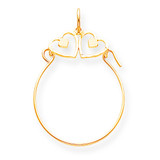 Double Heart Charm Holder 10k Gold 10C687