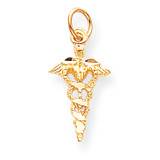 Solid Caduceus Charm 10k Gold 10C744