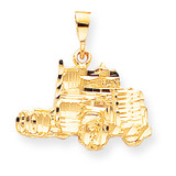 Solid Diamond-cut Semi Truck Charm 10k Gold 10C754