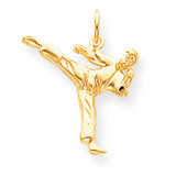 Solid Karate Person Charm 10k Gold 10C863