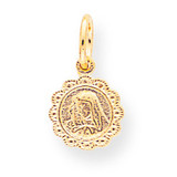 Solid Satin Polished Our Lady of Sorrows Disc Pendant 10k Gold 10C88