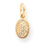 Solid Satin Polished Saint Christopher Pendant 10k Gold 10C89