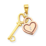 Heart & Key Charm 10k Two-Tone Gold 10C903