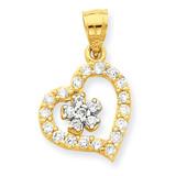 Heart & Flower Pendant 10k Gold Synthetic Diamond 10C919
