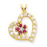 Heart & Flower Pendant 10k Gold Synthetic Diamond 10C920