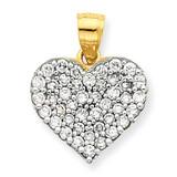 Cluster Heart Pendant 10k Gold Synthetic Diamond 10C925