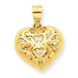 Diamond-Cut Heart Charm 10k Gold 10C932