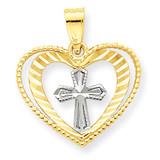 Heart with Cross Charm 10K Gold & Rhodium 10C936