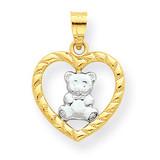 Teddy Bear Heart Charm 10K Gold & Rhodium 10C939
