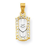 I Love You Charm 10k Gold Synthetic Diamond 10C947
