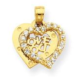 Small Synthetic Diamond I Love You Heart Charm 10k Gold 10C948