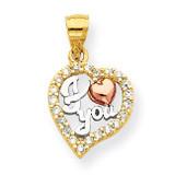 White Rhodium I Love You Synthetic Diamond Heart Pendant 10k Two-Tone Gold 10C949