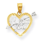 I Love You Heart Charm 10K Gold & Rhodium 10C954