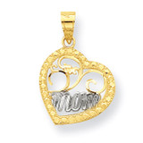 Mom Heart Charm 10K Gold & Rhodium 10C959