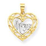 Mom Heart Charm 10K Gold & Rhodium 10C960