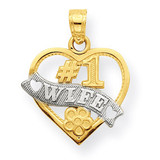 #1 Wife Heart Charm 10K Gold & Rhodium 10C964