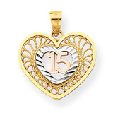 Sweet 15 Heart Pendant 10k Two-Tone Gold 10C972