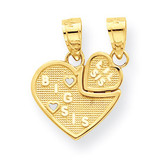 Big Sis, Lil Sis Break-apart Heart Charm 10k Gold 10C976