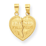 Best Friends Break-apart Heart Charm 10k Gold 10C978