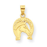 Good Luck Horseshoe with Horse Charm 10k Gold 10C982
