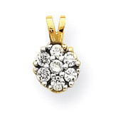 Small Synthetic Diamond Flower Charm 10k Gold 10C991