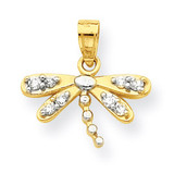 Dragonfly Charm 10k Gold Synthetic Diamond 10C996