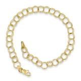 Triple Link Charm Bracelet 7 Inch 10k Gold 10CH10-7