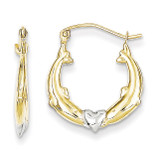 Dolphin Heart Hollow Hoop Earrings 10K Gold & Rhodium 10ER272