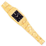 Black 27x47mm Dial Square Face Nugget Watch 10k Gold 10N262B-8
