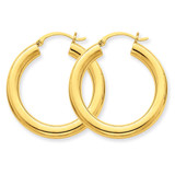 Polished 4mm x 30mm Tube Hoop Earrings 10k Gold 10T949