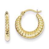 Scalloped Hollow Hoop Earrings 10k Gold 10TC359