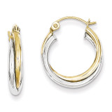 Yellow & Twist Hoop Earring 10k White Gold 10TC366