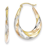 White & Rose Rhodium Oval Scalloped Hollow Hoop Earrings 10k Gold 10TC369