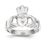 Polished Claddagh Ring 10k White Gold 10WC22