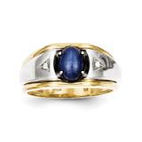 Blue Star & .01ct Diamond Men's Ring 10K Gold & Rhodium 10X11