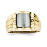 Gray Cats Eye & .01ct Diamond Mens Ring 10k Gold 10X12