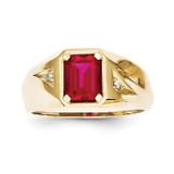 Created Ruby & .02ct Diamond Men's Ring 10k Gold 10X14