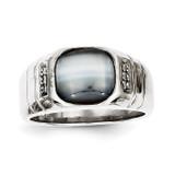 Diamond and Grey Cat's Eye Ring 10k White Gold 10X146