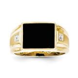 Men's Diamond and Black Onyx Ring 10k Gold 10X156