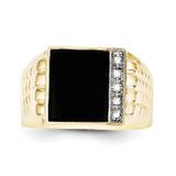 Onyx & .03ct Diamond Men's Ring 10k Gold 10X18