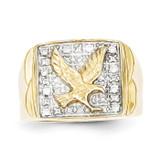 0.10ct Diamond Mens Eagle Ring 10K Gold & Rhodium 10X19