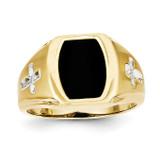 Onyx & .01ct Diamond Mens Cross Ring 10k Gold 10X32