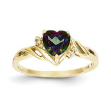 Heart Mystic Fire Topaz & .01ct Diamond Ring 10k Gold 10X57