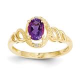 Purple Amethyst Diamond Ring 10k Gold 10XB299