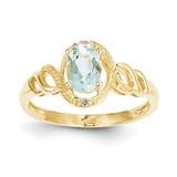 Aquamarine Diamond Ring 10k Gold 10XB300